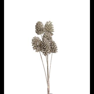 Pine Cones Medium 7-10cm (8 stem) champagne glitter