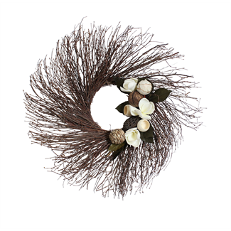 Birch Wreath - Natural/Green with Magnolia