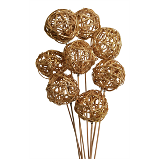 Lata balls- 6 cm (10 stem) gold paint
