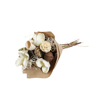 Botanical Round Bouquet - Natural/White Magnolia