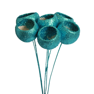 Bell Cups (7 stem) Ice blue glitter