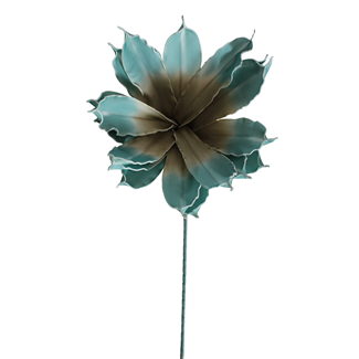 """Jumbo Foam Magnolia Flower on stem (20"""") Blue/Brown"""