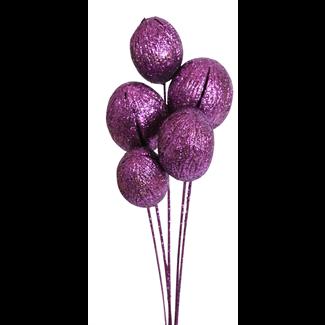 Mintola balls (6 stem) Purple glitter
