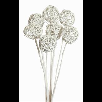 Lata balls- 6cm (10 stem) White glitter