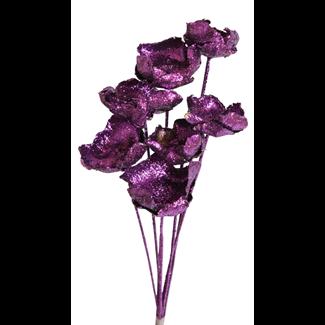 Palm Caps (6 stem) Purple glitter