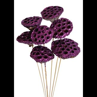 Lotus Pods (3 pcs) Purple Glitter