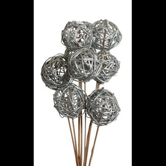 Lata balls- 6 cm (10 stem) silver paint