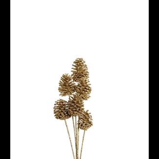 Pine Cones Medium 7-10cm (8 stem) Gold glitter
