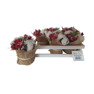 Berries with Pine & Cotton Bundles in Wooden Box (6 pcs)