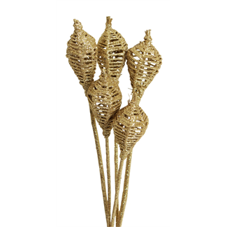 Lantern (6 stem) Gold glitter