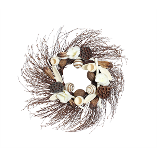 Birch Wreath - Natural with White Magnolia