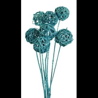Lata balls- 6cm (10 stem) Ice blue glitter