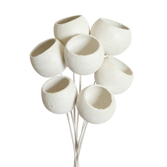 Bell Cups (7 stem) White glitter