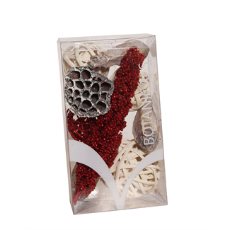 Medium Christmas Boxed Bowl Filler - Red Glitter