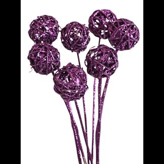 Lata Balls (5 pcs) Purple Glitter