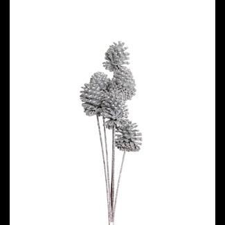 Pine Cones Medium 7-10cm (8 stem) Silver glitter