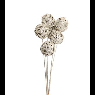 Kamboi Balls 8 cm (6 stem) Champagne Glitter