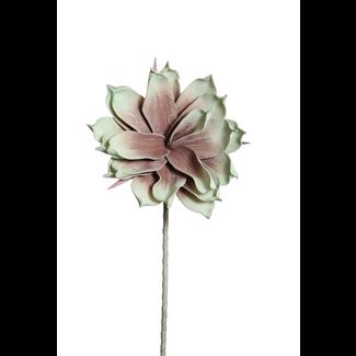 "Foam Magnolia Flower on stem (10"") Green/Brown"