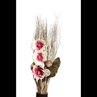 Three Flower Magnolia Bouquet - Purple/White