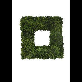 "Wreath - Square Boxwood - 22"""