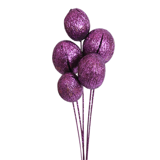 Mintola balls (6 stem) Purple glitter