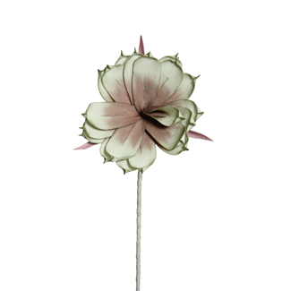 "Foam Magnolia Flower on stem (10"") Burgundy/Mint Green"