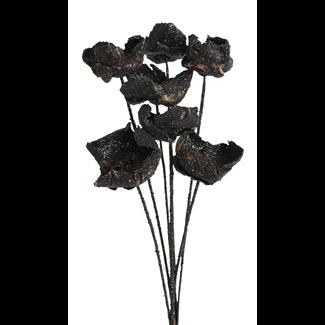 Palm Caps (6 stem) Black Glitter