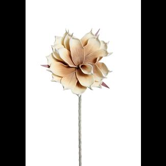 "Foam Magnolia Flower on stem (10"") White/Brown"