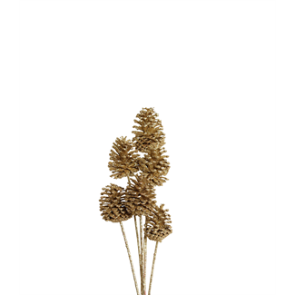 Pine Cones Medium 7-10cm (8 stem) Gold glitter