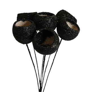 Bells Cups (7 stem) Black glitter