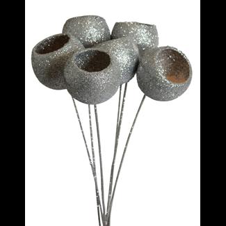 Bell Cups (7 stem) Silver glitter