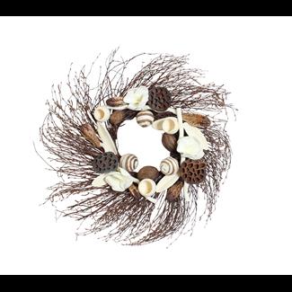 Birch Wreath - Natural with White Magnolia
