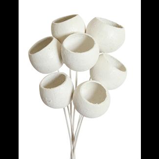 Bell Cups (7 stem) White glitter