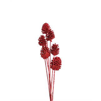 Pine Cones Medium 7-10cm (8 stem) Red glitter