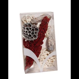 Medium Christmas Boxed Bowl Filler - Red Glitter