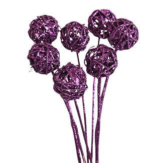 Lata Balls (5 pcs) Purple Glitter