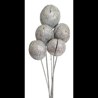 Mintola balls (6 stem) Silver glitter