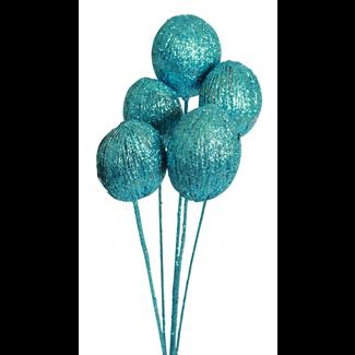 Mintola balls (6 stem) Ice blue glitter