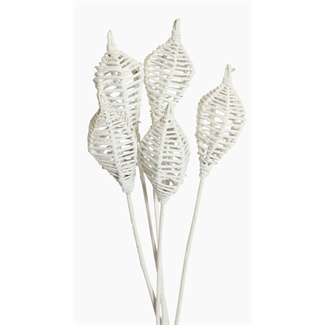 Lantern (6 stem) White glitter
