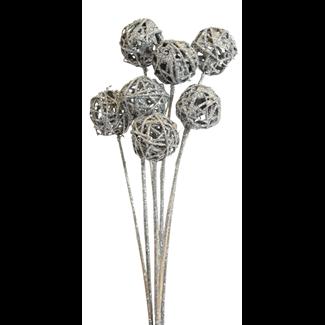 Lata balls- 6 cm (10 stem) Silver glitter